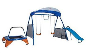 IronKids Playground with swings, slide, and trampoline: Best Swing Sets for Small Backyards