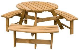 Merax Pine Wood Round Picnic Table: Best Wood Picnic Table