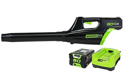 Best Battery Operated Leaf Blowers 2018: Greenworks PRO 80V 125 MPH - 500 CFM Cordless Blower, 2.0 AH Battery Included GBL80300
