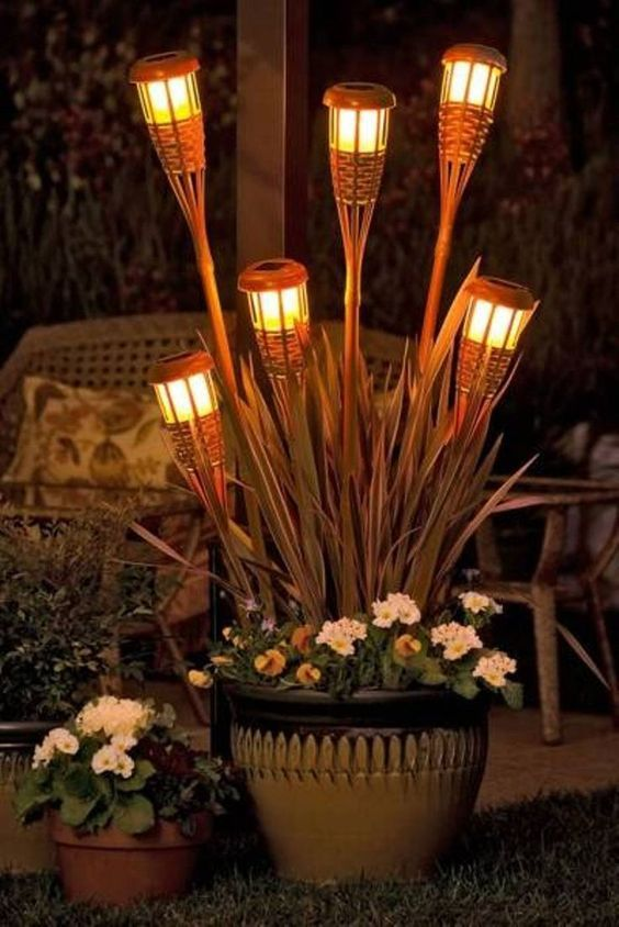 tiki torch planter backyard patio lighting