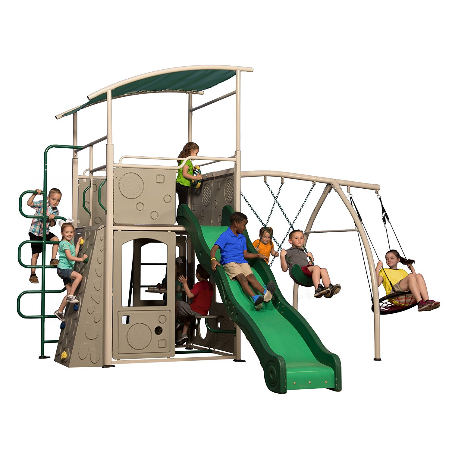 Backyard Discovery Castle Grey Metal Swing Set and Outdoor ...