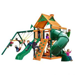 Mountaineer Swing Set with Wood Roof Canopy, Heavy Duty Swing Sets For Older Kids