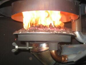 Inside of a wood pellet heater
